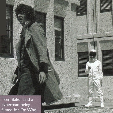 Tom Baker as Doctor Who at the NRPB with a Kraal android