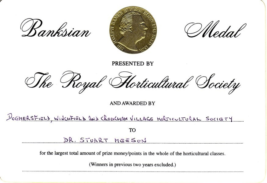 Awarded RHS Banksian Medal. Click for more information on medal (p11-12)